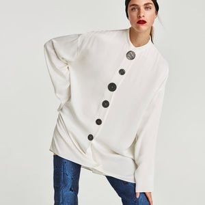 Zara Off White Tunic Top with Contrasting Buttons